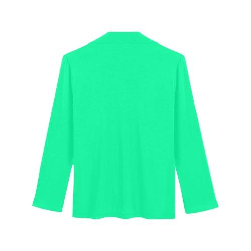 color medium spring green Women's Long Sleeve Pajama Shirt (Sets 02)