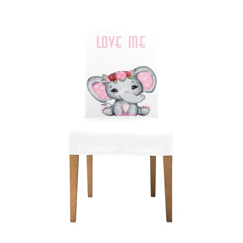 Adorable elephant baby girl with flowers and text on White Removable Dining Chair Cover