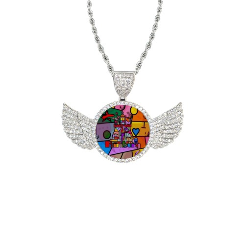 Hamburg by Nico Bielow Wings Silver Photo Pendant with Rope Chain