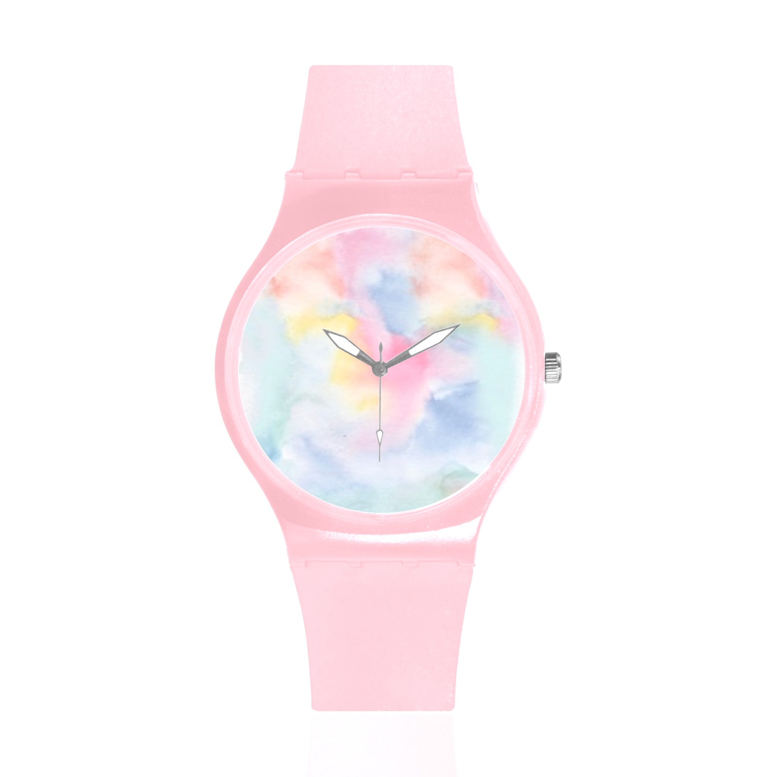 Colorful watercolor Unisex Round Rubber Sport Watch(Model 314)
