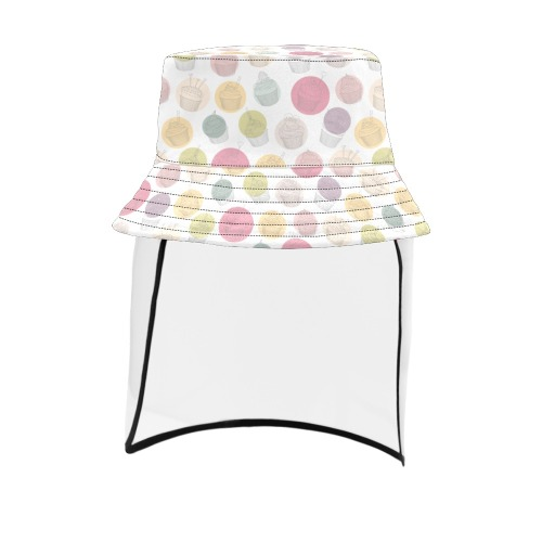 Colorful Cupcakes Men's Bucket Hat (Detachable Face Shield)