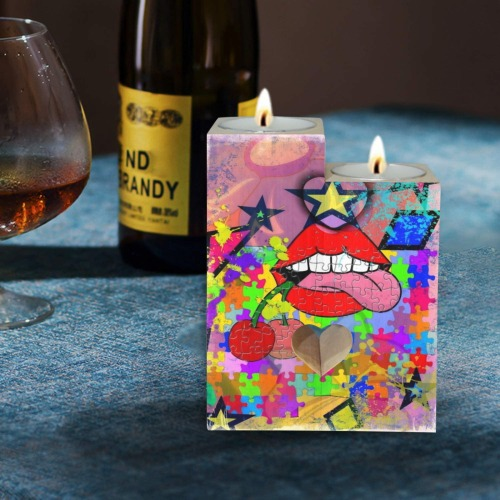 Kiss by Nico Bielow Wooden Candle Holder (Without Candle)
