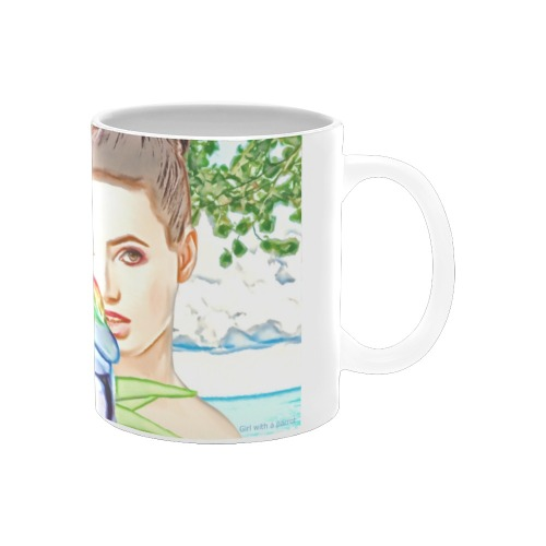 Girl with a parrot White Mug(11OZ)