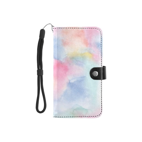 Colorful watercolor Flip Leather Purse for Mobile Phone/Small (Model 1704)