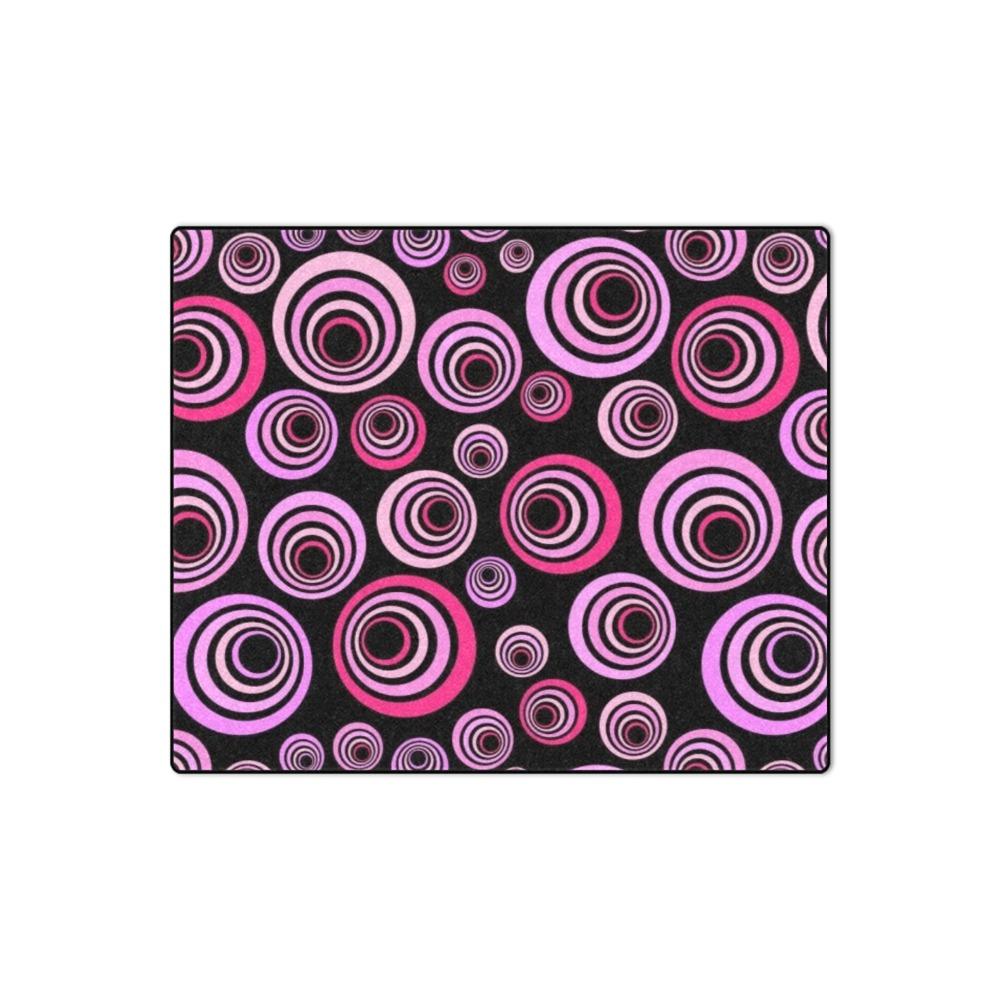 "Retro Psychedelic Pretty Pink Pattern Blanket 50""x60"""