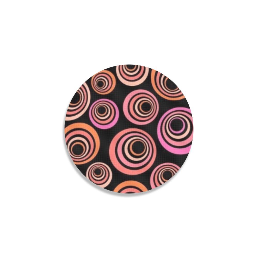 Retro Psychedelic Pretty Orange Pattern Round Coaster