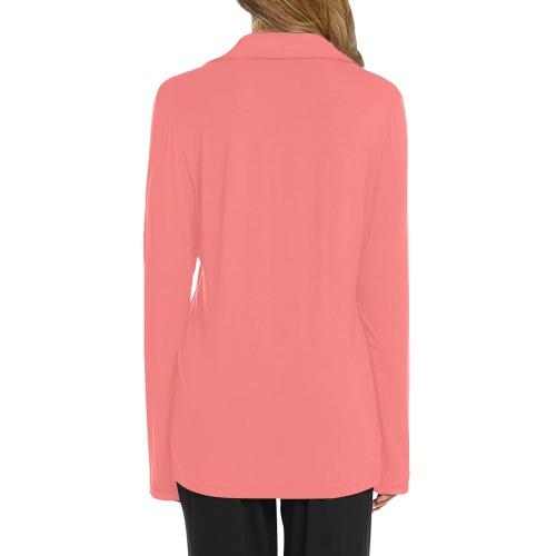 color light red Women's Long Sleeve Pajama Shirt (Sets 02)