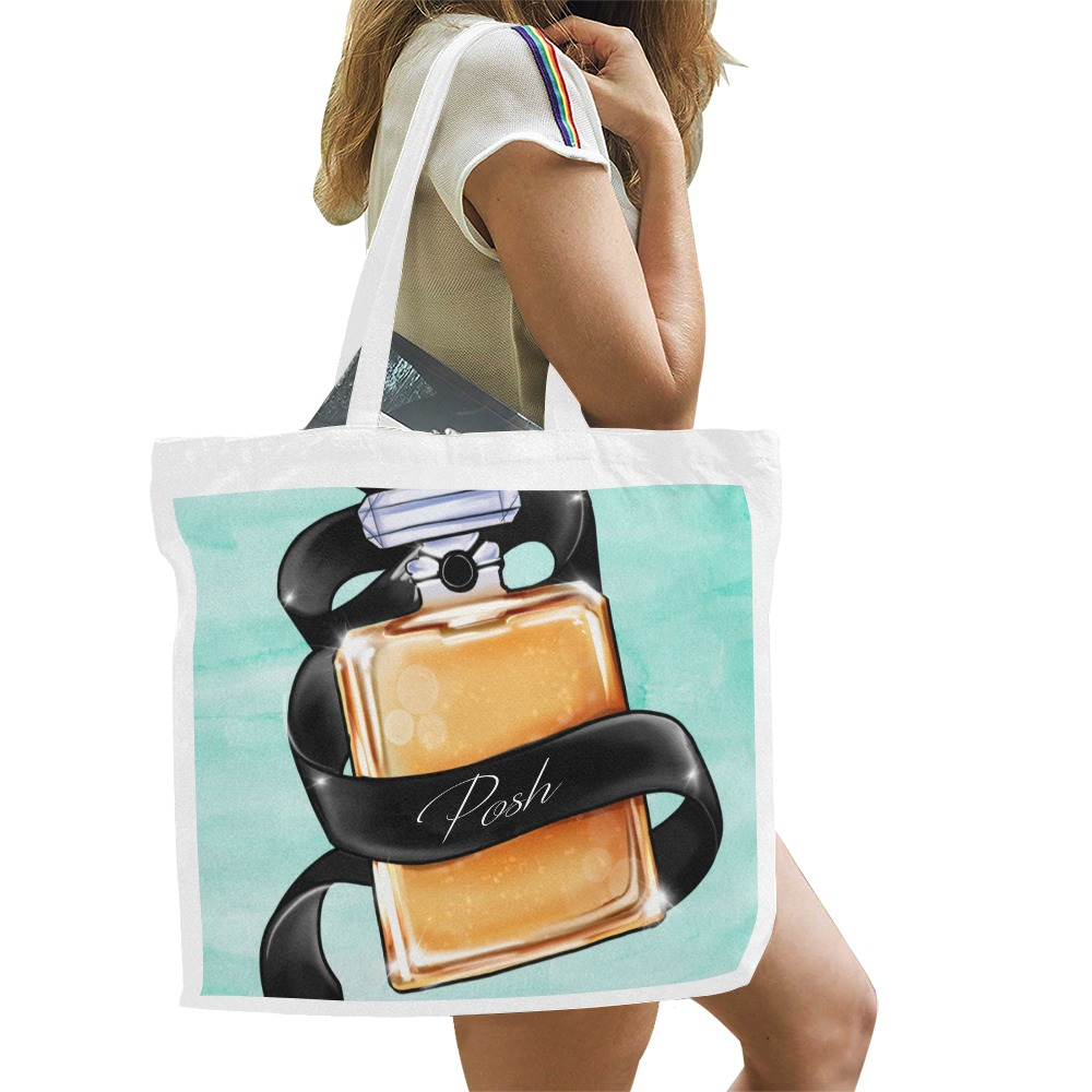 Parfume bottle illustration on watercolor turquoise background Canvas Tote Bag/Large (Model 1702)