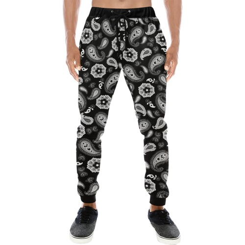 Black Paysley Men's All Over Print Sweatpants (Model L11)