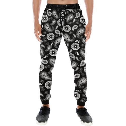 Black Paysley Men's All Over Print Sweatpants (Model L11)