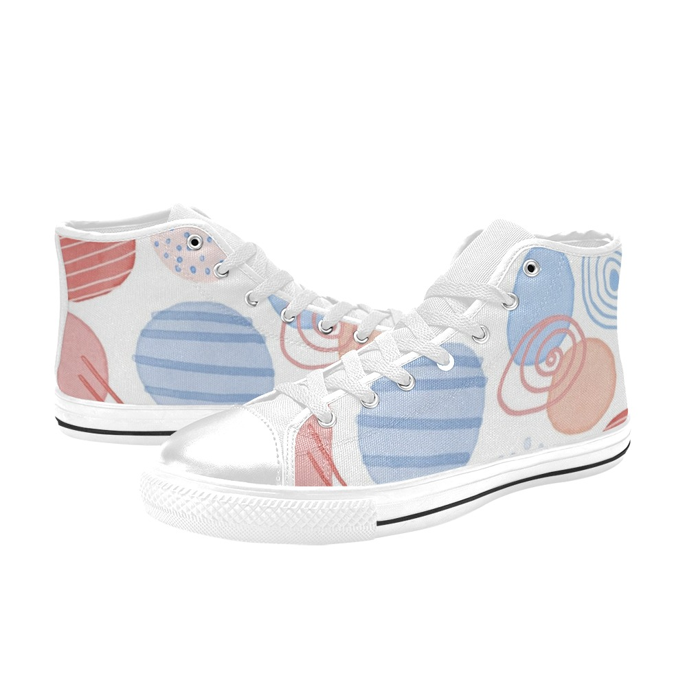 Circles High Top Canvas Shoes for Kid (Model 017)