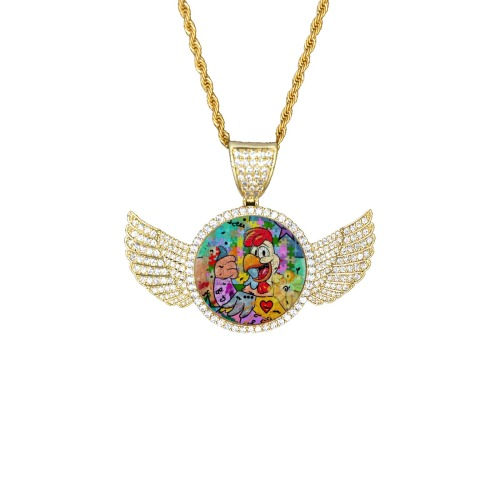 OK by Nico Bielow Wings Gold Photo Pendant with Rope Chain
