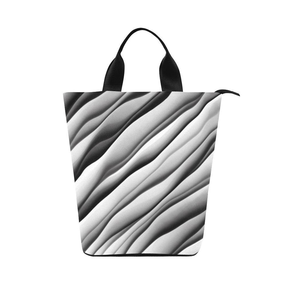 Monochrome Ink Nylon Lunch Tote Bag (Model 1670)