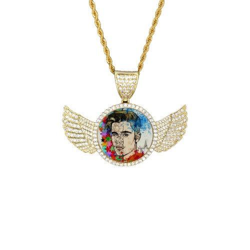 Baby by Nico Bielow Wings Gold Photo Pendant with Rope Chain