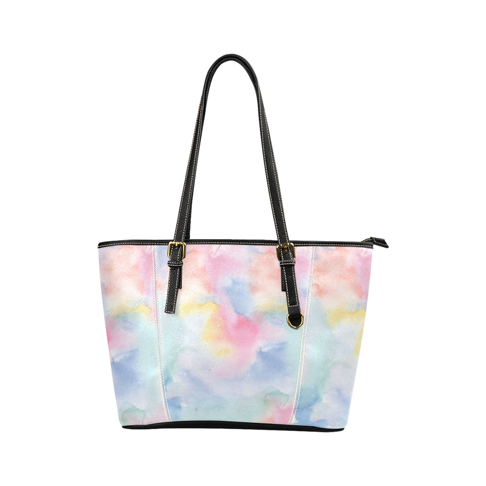 Colorful watercolor Leather Tote Bag/Small (Model 1640)