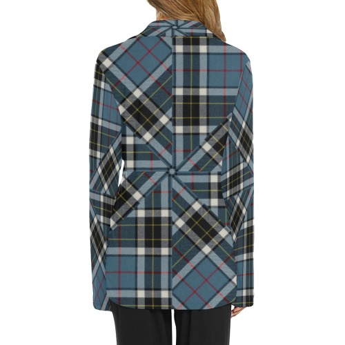 Thompson Blue Tartan Women's Long Sleeve Pajama Shirt (Sets 02)