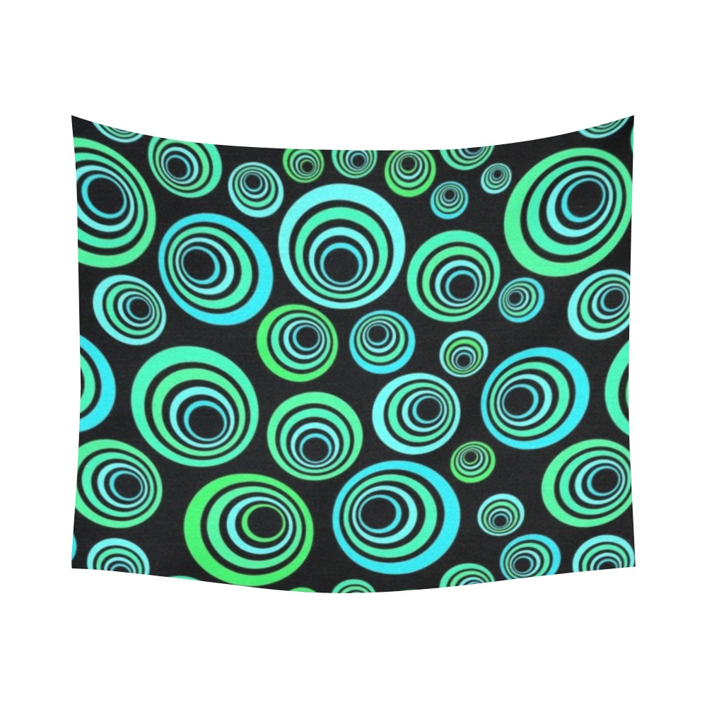 """Retro Psychedelic Pretty Green Pattern Cotton Linen Wall Tapestry 60""""x 51"""""""