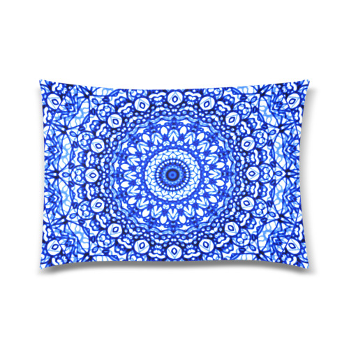 "Blue Mandala Mehndi Style G403 Custom Zippered Pillow Case 20""x30"" (one side)"