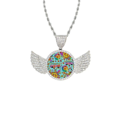 Flower Power by Nico Bielow Wings Silver Photo Pendant with Rope Chain