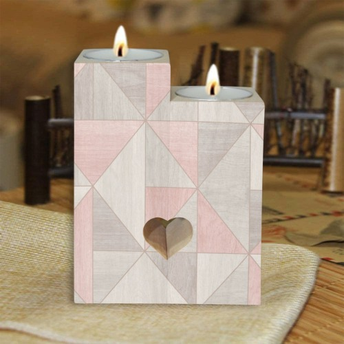 Block Pastels Wooden Candle Holder (Without Candle)