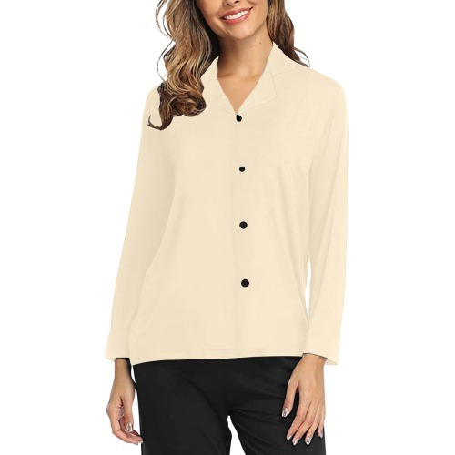 color blanched almond Women's Long Sleeve Pajama Shirt (Sets 02)