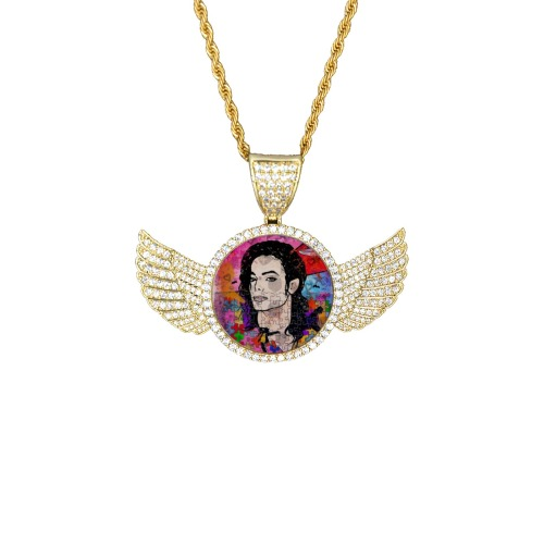 King of by Nico Bielow Wings Gold Photo Pendant with Rope Chain