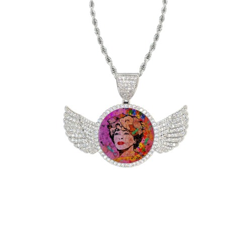 The Best by Nico Bielow Wings Silver Photo Pendant with Rope Chain
