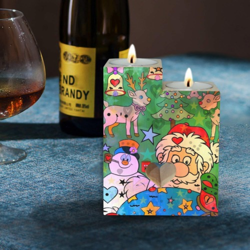 Santa 2021 by Nico Bielow Wooden Candle Holder (Without Candle)
