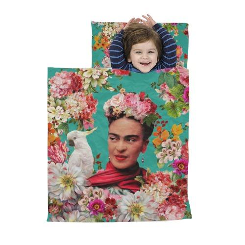Frida Kahlo Cockatoo Love - Teal Kids' Sleeping Bag