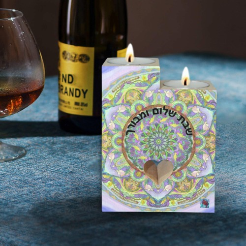 indian mandala 4 Wooden Candle Holder (Without Candle)