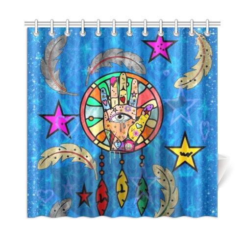 "Hand Dreamcatcher by Nico Bielow Shower Curtain 72""x72"""