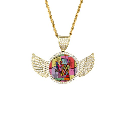 nb100 Wings Gold Photo Pendant with Rope Chain