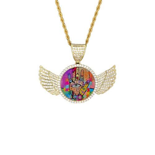 Hands up by Nico Bielow Wings Gold Photo Pendant with Rope Chain