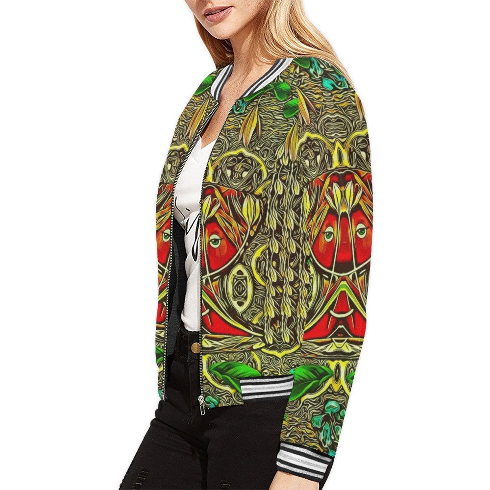 leather lady among spring flowers All Over Print Bomber Jacket for Women (Model H21)