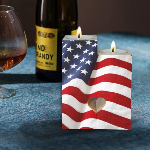 US Flag Wooden Candle Holder (Without Candle)