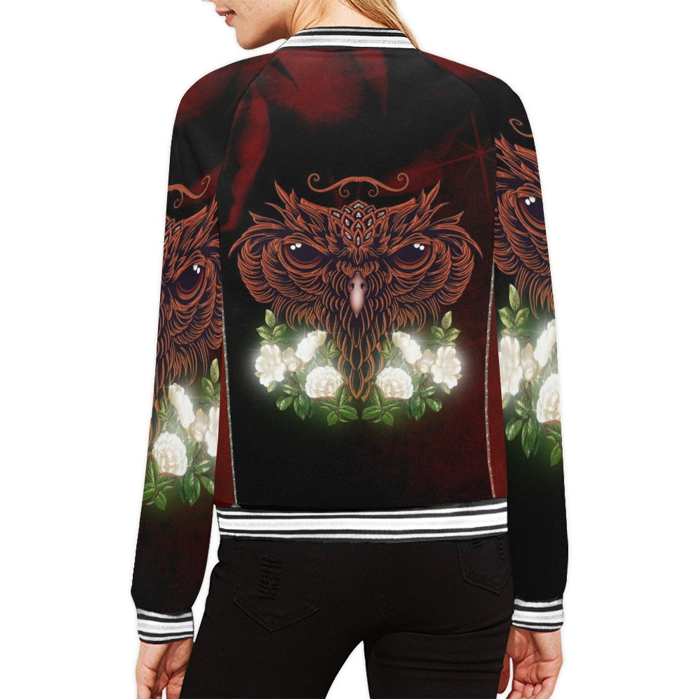 Awesome owl with flowers All Over Print Bomber Jacket for Women (Model H21)