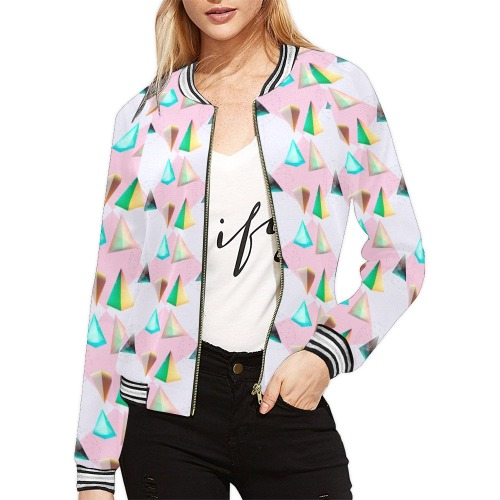 Diamonds All Over Print Bomber Jacket for Women (Model H21)
