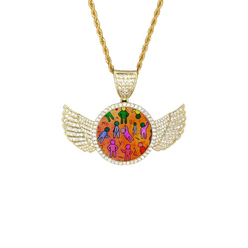 Many People by Nico Bielow Wings Gold Photo Pendant with Rope Chain