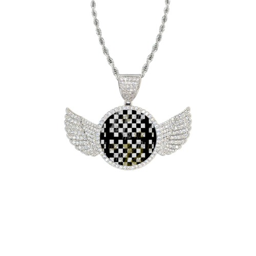 NB Pop by Nico Bielow Wings Silver Photo Pendant with Rope Chain