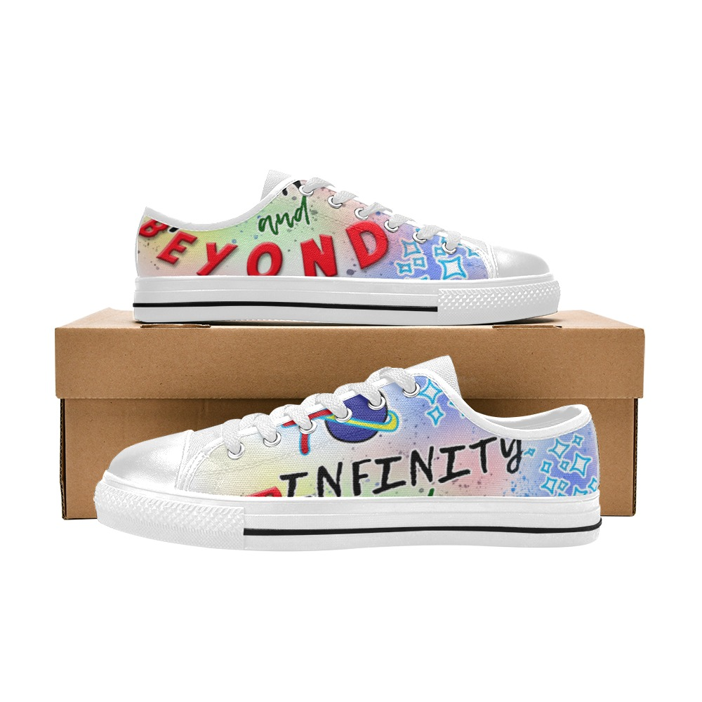 Infinity and Beyond White Men's Classic Canvas Shoes (Model 018)