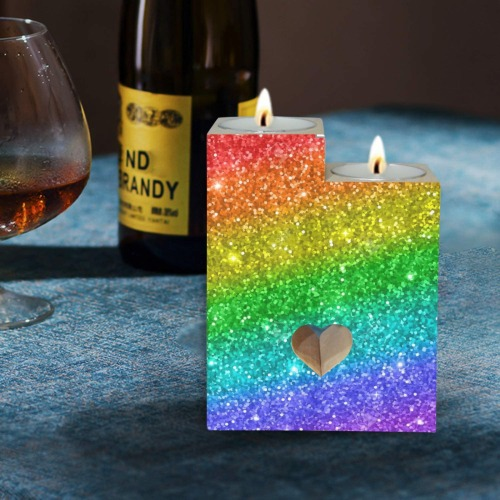 Rainbow Wooden Candle Holder (Without Candle)
