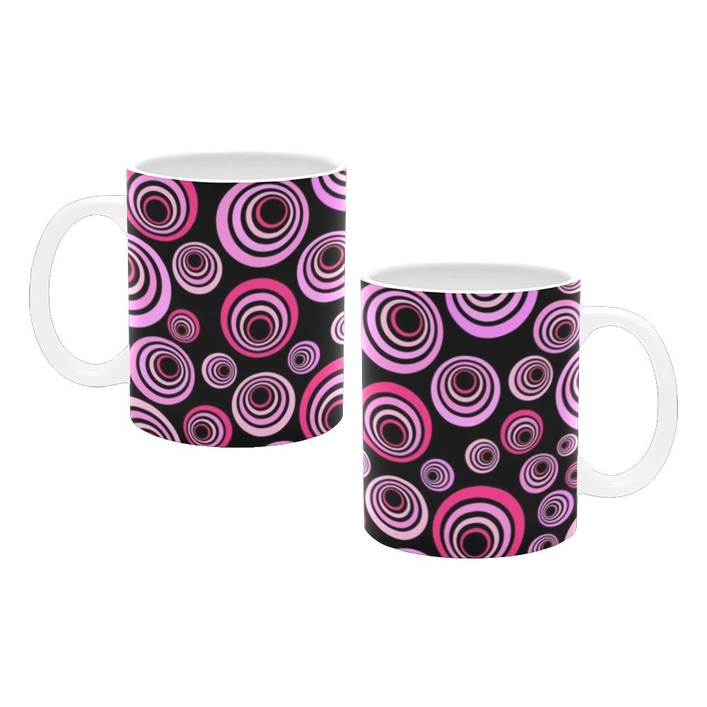 Retro Psychedelic Pretty Pink Pattern White Mug(11OZ)