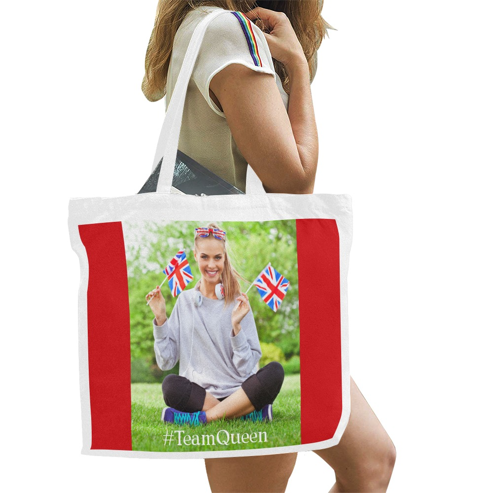 TeamQueen pro-Commonwealth red background Canvas Tote Bag/Large (Model 1702)