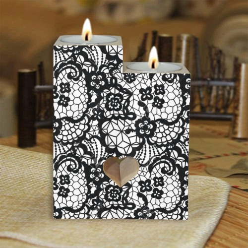 Black Lace Wooden Candle Holder (Without Candle)