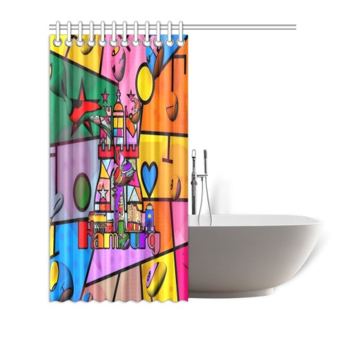 "Hamburg Pop Art by Nico Bielow Shower Curtain 72""x72"""