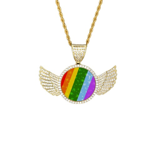 Pride by Nico Bielow Wings Gold Photo Pendant with Rope Chain