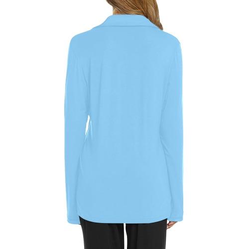 color light sky blue Women's Long Sleeve Pajama Shirt (Sets 02)