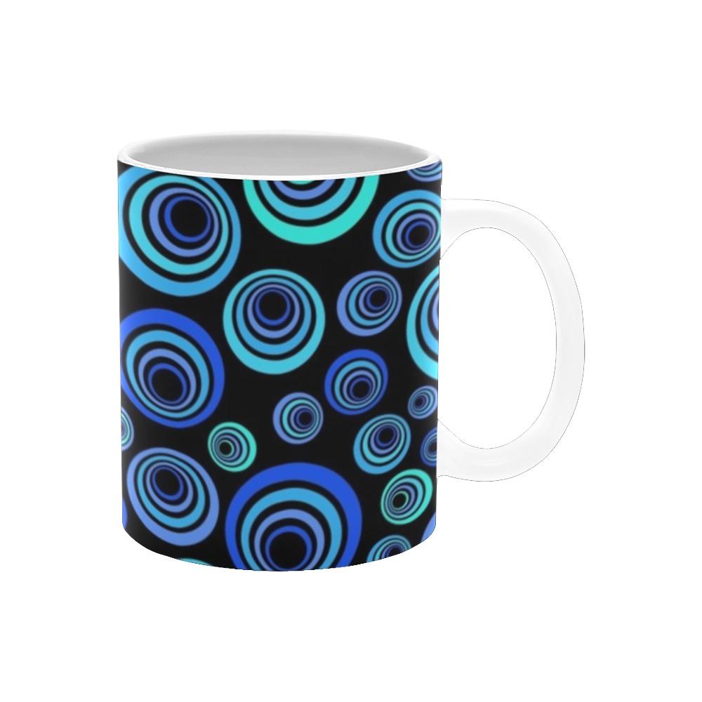 Retro Psychedelic Pretty Blue Pattern White Mug(11OZ)