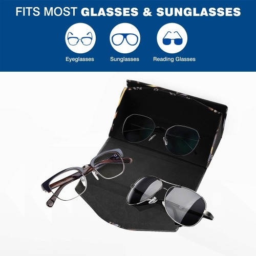 Metallic Effect Swirls on Black Custom Foldable Glasses Case