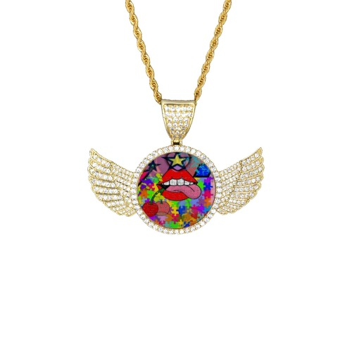 Lick me by Nico Bielow Wings Gold Photo Pendant with Rope Chain